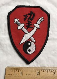 Ying Yang Sword Swords Red + Black Embroidered Martial Arts Patch