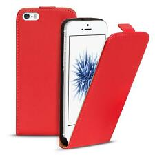 Flip Case Apple iPhone 5 5S SE Hülle Pu Leder Klapphülle Handy Tasche Cover Rot