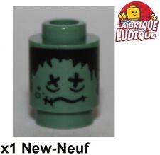 Lego - 1x Brick round decorated frankenstein zombie 3062bpb036 4866 bus NEUF