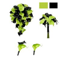 Wedding Package - Lime Green and Black Bouquet boutonniere real touch calla lily