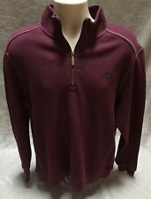 NEW Tommy Bahama Relax Mens Large Qtr Zip Burgundy Fleece Sweatshirt Pullover