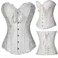 Women's White Overbust Bustier Waist Trainer Corset Top Wedding Party Plus Size