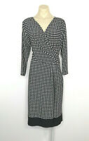 JANE LAMERTON Faux Wrap Stretch Dress Size 10 Polka Dot Print Corporate Career