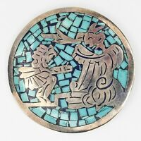 Vintage Mexico Sterling Silver 925 Blue Stone Inlay Brooch Pin Aztec Design