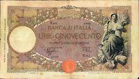 500 LIRE 15/07/1941 REGNO D' ITALIA V.E.III  CAPRANESI FASCIO BANCONOTA