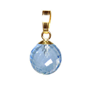 8mm SKY BLUE TOPAZ MICRO FACETED BEAD / BALL 9ct / 9k YELLOW GOLD PENDANT
