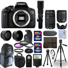 Canon T6i 750D SLR Camera + 5 Lens Kit: 18-55mm STM + 75-300mm + 500mm and More