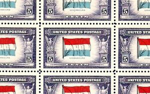 1943 - LUXEMBOURG - #912 Full Mint -MNH- Sheet of 50 Postage Stamps