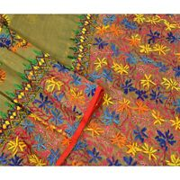 Tcw  New Heavy Dupatta Hand Embroidered Painted Kantha Stole Cotton Cream