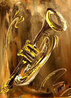 TRUMPET IMPRESSIONIST   Abstract Modern CANVAS Origina PAINTING  DSFB