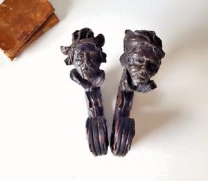 antique wood carving sculpture pair Corbel bracket Man bust face head Salvaged