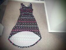 BLACK PINK WHITE AZTEC PRINT DRESS SIZE 8  HOLIDAY SUN DRESS LONG AT BACK DRESS
