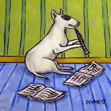 bull terrier clarinet dog art tile coaster gift Jschmetz