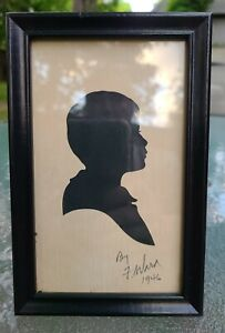 Vintage Hand Cut Silhouette of Young Boy in Frame~ Signed F. Ward 1946 Sweet ❤
