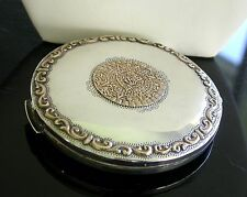 Vintage Sterling Silver & 18K Gold Soft Powder Compact . Mexican Silver