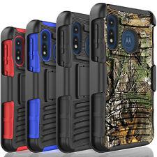 For Motorola Moto E 2020 Phone Case, Belt ClipKickstand+Tempered Glass Protector