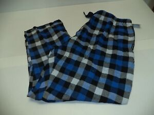 New Mens Size XXL 2XL 44 46 Hanes flannel pants blue Plaid Pajama Lounge Sleep