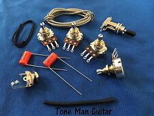 Upgrade Wiring Kit Short Shaft Pots 3-Way Switch Caps Fits Gibson Epi Les Paul