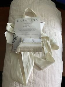 Casaluna King Heavyweight Linen Blend Quilt  Natural fast free same day shipping