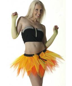 LADIES 6 LAYERS ORANGE YELLOW PETAL TUTU SKIRT HALLOWEEN FANCY DRESS ACCESSORY