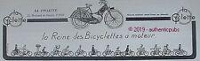 PUBLICITE LA CYCLETTE LA REINE DES BICYCLETTES A MOTEUR VELO DE 1923 FRENCH AD