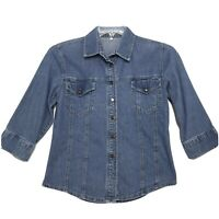 Blue Jean Semi Fitted Denim Shirt Womens Sz 36 M Medium 3/4 Sleeve Button Up