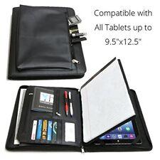 Leather Folder Portfolio Tablet Case Cover Business Organizer iPad Tab Universal