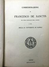 (Letteratura)  F. De Sanctis - COMMEMORAZIONE - Napoli 1917