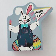 "Cat Meow Village Mini Wooden Decor Shelf Sitter Happy Easter Bunny Egg 1.5"" x 2"""
