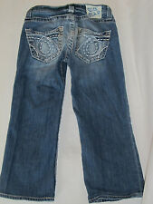 Womens Big Star Casey Boyfriend Wide Stitch Capri Long Blue Jean Shorts Size 25