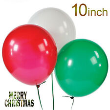 Merry Christmas Latex Balloons Green & Red Xmas Decoration Pack Of 100