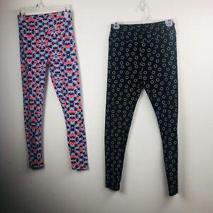 lularoe One Size Lot Of 2 Leggings Black White Circles Blue Pink Aqua Woman's