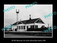 OLD LARGE HISTORIC PHOTO OF McVILLE MINNESOTA, THE RAILROAD STATION c1960
