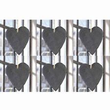 6 Stück  Herzen aus Schiefer zum Hängen H 14 cm Schieferherzen Dekoherz Herzdeko