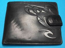 Ripcurl Mens Black Leather Embossed Bifold Wallet