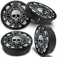 4x 60mm - 56mm Universal Black Skull Car Rims Alloy Wheel Center Hub Centre Caps