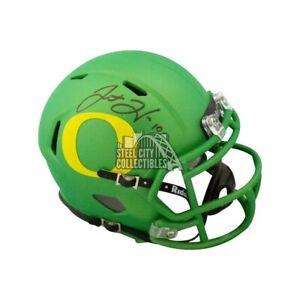 Justin Herbert Autographed Oregon Apple Green Speed Mini Football Helmet BAS COA
