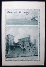 USS RECRUIT WOODEN MOCKUP RECRUITING SHIP BATTLESHIP NEW YORK WW1 OLD PAGE 1917