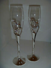 Wedding Toasting Glasses with Silver Diamante Hearts / Champagne Flute / bridal