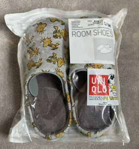 Uniqlo / Snoopy / KAWS grey room shoes with yellow Woodstock graphic
