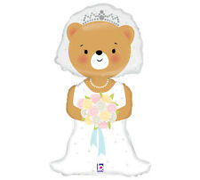 "Wedding Bear Bride Dress Mylar Balloon 14"" Foil Anniversary Flowers Party 3 Pack"