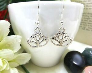 Small Silver Lotus Earrings BohoLotus Flower Ladies Fashion Jewellery For Her