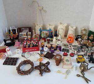 Assorted Dollhouse Miniatures Accessories Lot Food Decor Mugs Etc