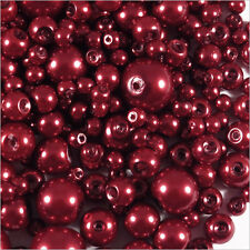 Lot de perles Nacrées en verre 4-12mm Mix Rouge Bordeaux 100g