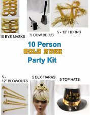 New Years Eve Gold Rush Party Kit for 10 People Hats Tiaras Cowbells Horns 1-6A