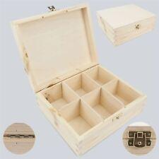 Unpainted Wooden Tea Box 6 / 6 Sections / Storage Box /  Art Craft Decoupage