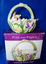 "2004 Nib Fitz & Floyd 6.5""H Bunny Ceramic Easter Basket ""Painting Easter Eggs"""