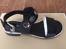 NIB $150 Michael Kors Reggie Black Leather Flat Sandals Sz 9M