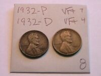 1932-P, 32-D (2) Lincoln Cents VF Very Fine Toned Original Wheat Penny US Coin