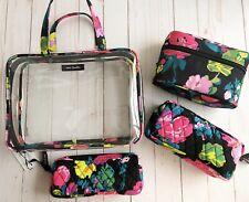 Vera Bradley 4 Pc Cosmetic Organizer Hilo Meadow Travel Makeup Case + Bag NWT
